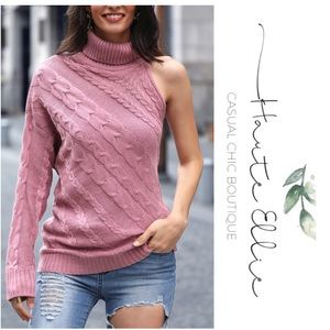 VIOLET- Cut Away Turtleneck Cable Knit Sweater